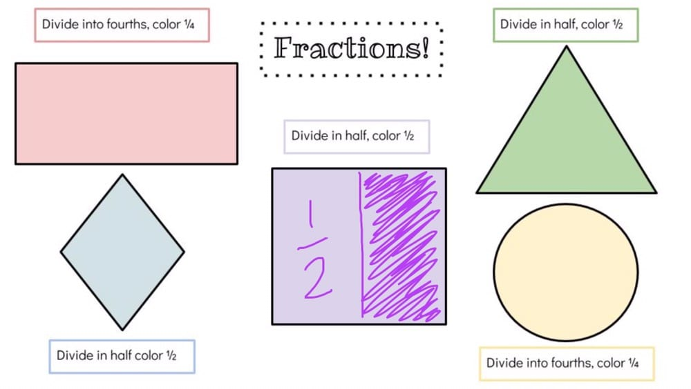 Rectangle, triangle, square, diamond, and circle. Square is divided in half. Seesaw Activities