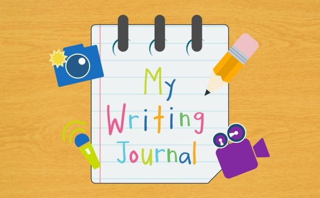 Cartoon image of notebook labeled My Writing Journal, with camera, microphone, pencil, and video