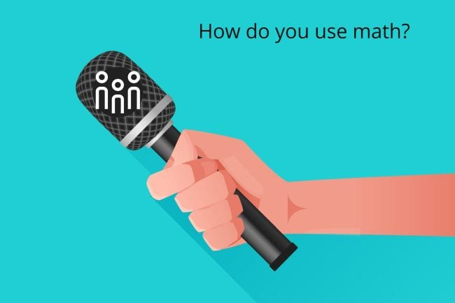 Illustration of hand holding microphone with caption How do you use math? Seesaw Activities