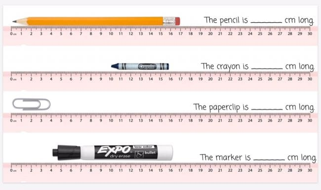 Images of rulers with pencil, crayon, paperclip, and marker