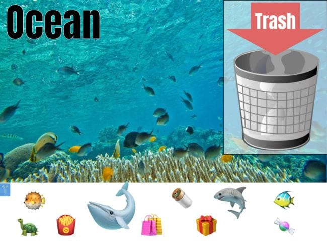 Image of coral reef with icons of sea animals and trash items, and can labeled Trash - Seesaw Activities