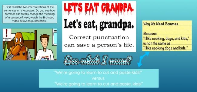 """Slide saying """"Lets eat grandpa"""" and """"Let's eat, grandpa"""" with different punctuation"""