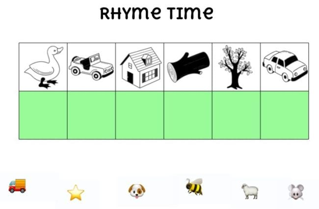 Image icons like duck, truck, tree, bee to match by rhyming words - Seesaw Activities