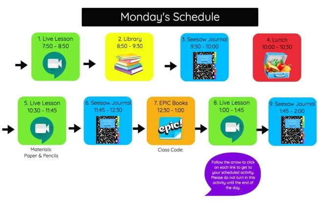 Icons showing schedule items and times - Seesaw Activities