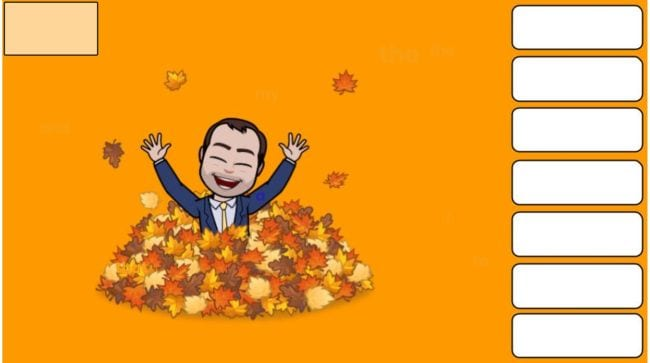 Bitmoji man in pile of leaves with boxes for hidden words
