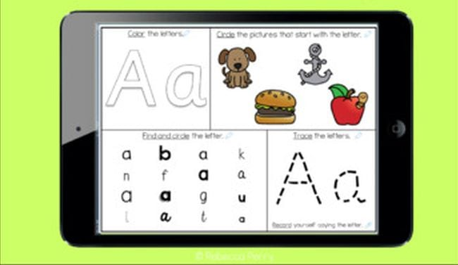 Worksheet of letter A activities, including coloring and tracing sections