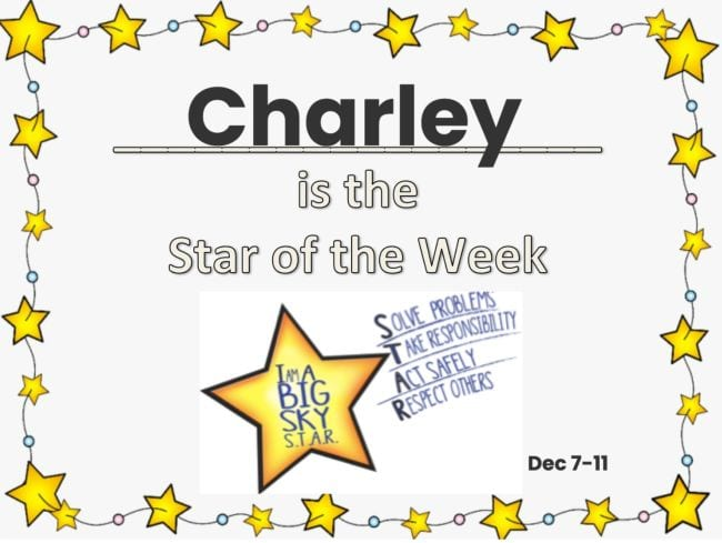 Certificate saying Charley Is The Star Of The Week surrounded by stars