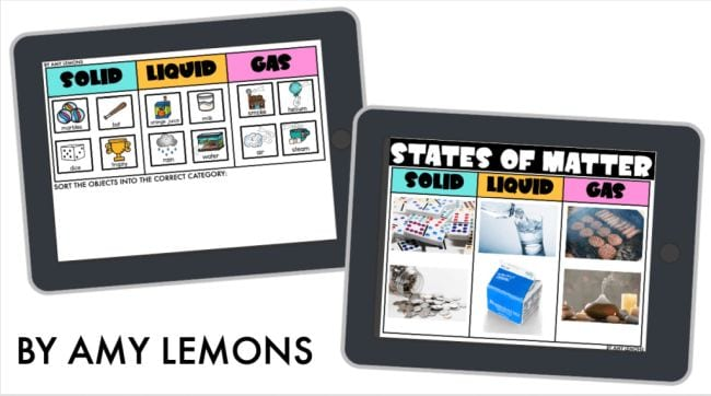 Tablet screens showing images of solids, liquids, and gases with space to sort them