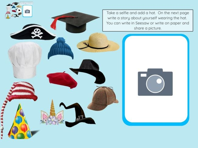 Images of different hats and a box for uploading a selfie photo