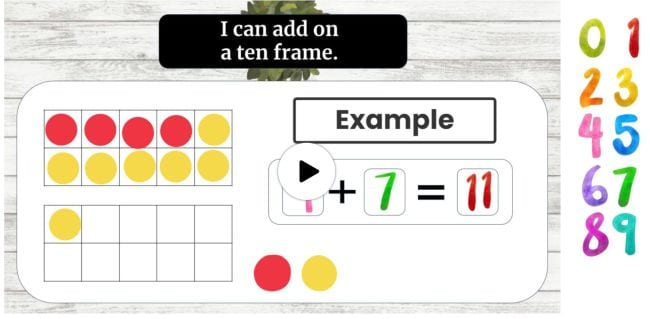 Double 10 frames showing 4 red dots and 7 yellow dots totaling 11 - Seesaw Activities
