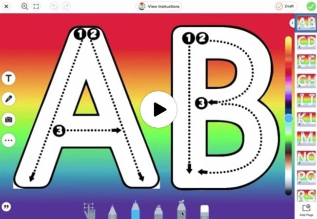 Large outlines of A and B with arrows showing how to trace them - Seesaw Activities