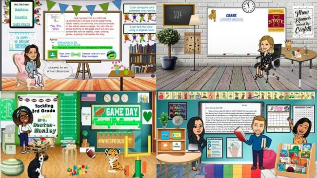 Collage of Bitmoji classrooms designs