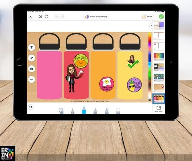 Seesaw page showing water bottles with digital stickers from Erintegration