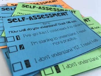 self assessment cards for students to check for understanding