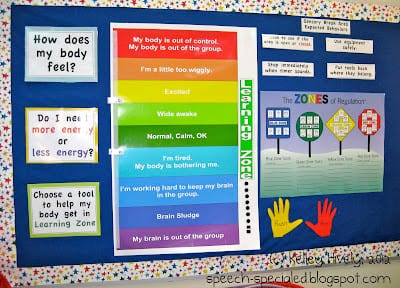 classroom bulletin board with information on it to help students regulate their emotions