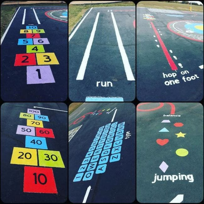 Collage of painted hopscotch, balance lines, running paths, and oversized keyboard