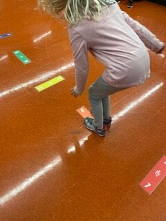 Boy using sensory path at school