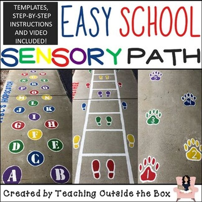 Easy School Sensory Path with decals showing letters of the alphabet, a ladder with footprints, and bear paw prints