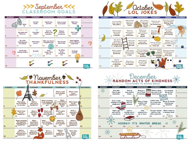 Print this FREE Teacher Calendar from WeAreTeachers