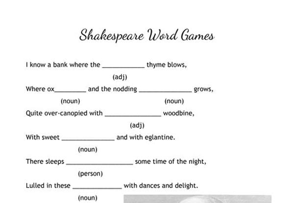 picture about Funny Fill in the Blank Stories Printable identify 30 Shakespeare Things to do and Printables for the Clroom