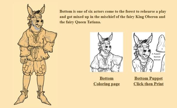 introducing younger students to a midsummer nights dream these printable coloring pages and finger puppets are just the ticket