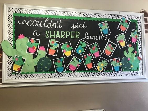 Classroom chalkboard display for cactus wall art