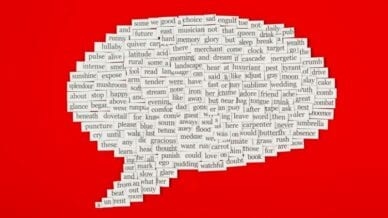 word bubble made up of sight word magnets against a bright red background