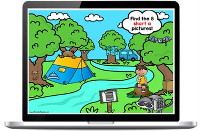 Cartoon of river running through the woods with tent and child