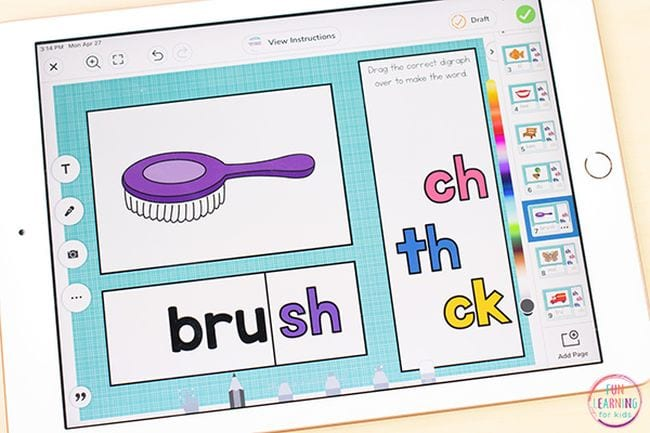 Illustration of a brush with various ending diagraphs to choose from - Sight Words Google Slides