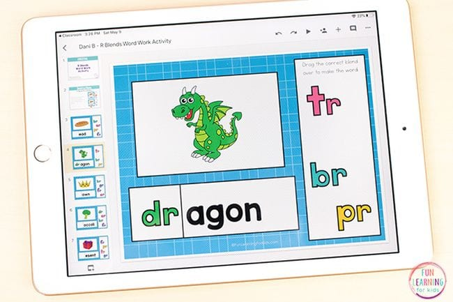 Illustration of a dragon accompanied by various diagraphs - Sight Words Google Slides