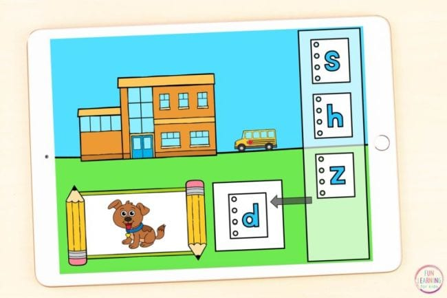School building with picture of a dog and letters s, h, z, d