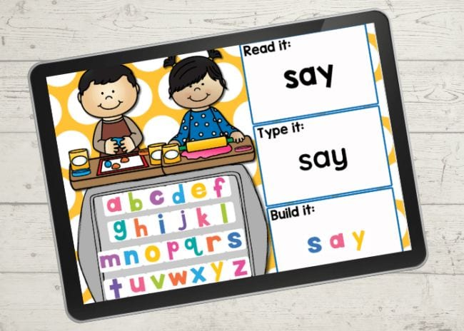 Two cartoon children with alphabet letters - Sight Words Google Slides