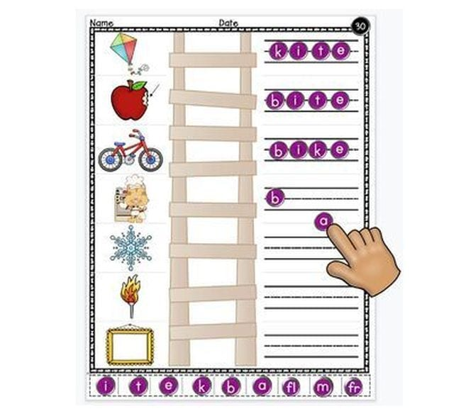 Illustration of ladder with pictures at each step, including apple and bike