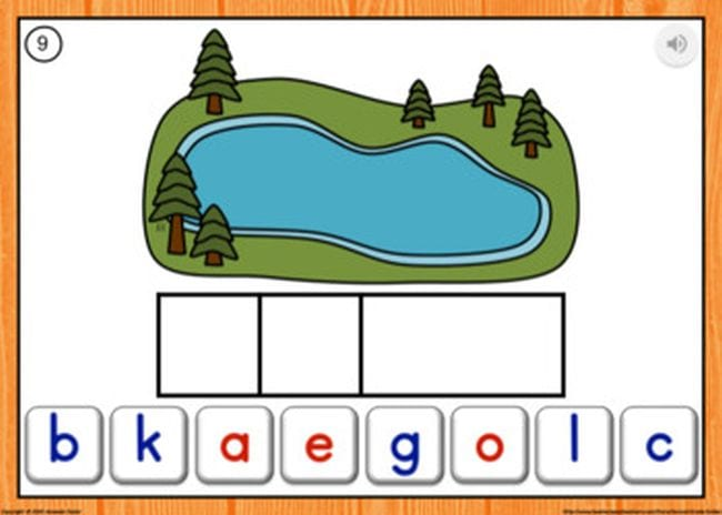 Illustration of a lake, 3 empty boxes, and a series of letters - Sight Words Google Slides