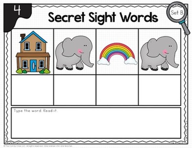 Picture of house, elephant, rainbow, and elephant, with boxes below for beginning letters - Sight Words Google Slides