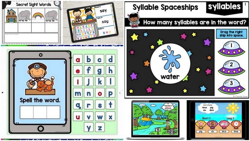 Collage of interactive phonics and sight words Google Slides
