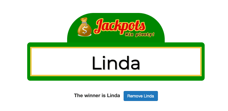 jackpot window with name inside