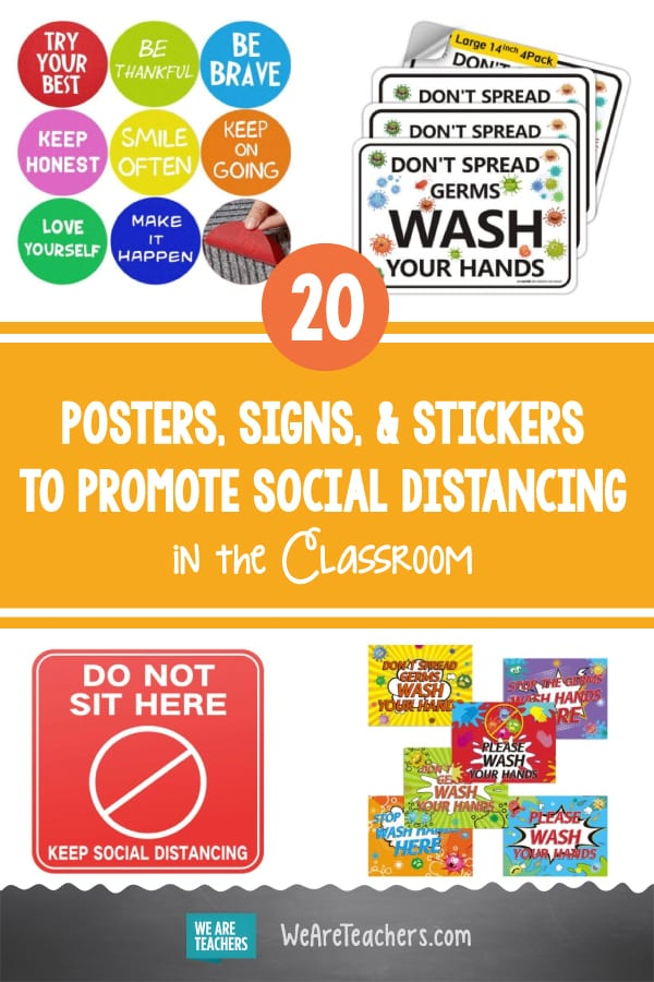20 Posters, Signs, & Stickers to Promote Social Distancing in the Classroom