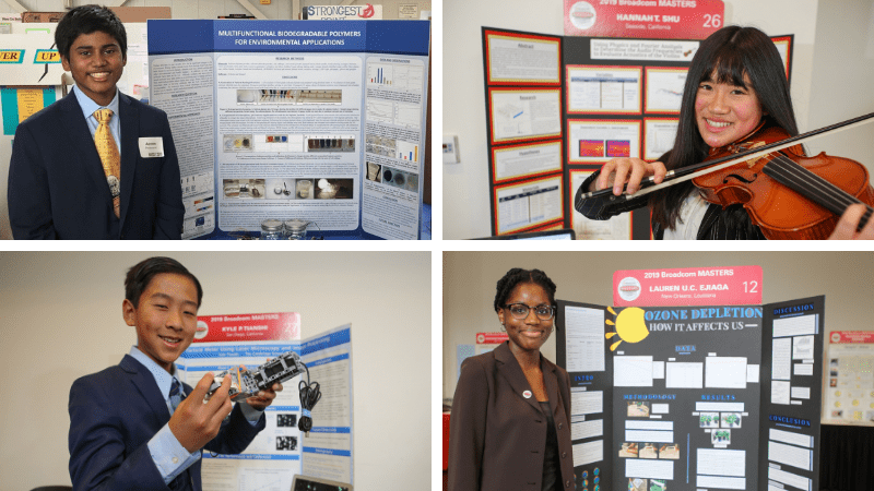 Four Middle School Students displaying their poster boards at a STEM Fair