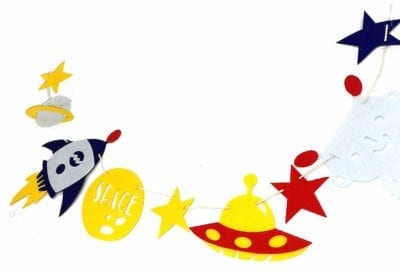 Yellow, red, white, and blue space themed garland for the classroom