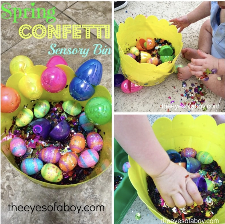 A collage of three images of a student's hands in a yellow sensory bin with plastic easter eggs and confetti