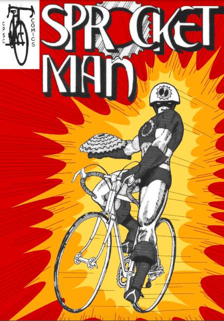 Cover shot of Sprocket Man- a bike safety comic book for kids
