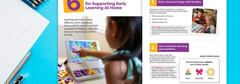 A pamphlet about smart ideas to support early learning at home by SquarePanda.