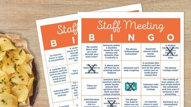 Free Printable - Facutly Meeting Bingo Card - WeAreTeachers