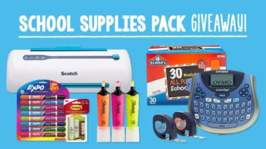 Staples school supply giveaway of expo markers, tape, sharpie markers, glue, and laminator.