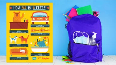 Free printable poster by Staples about how far is six feet and a blue backpack full of school supplies.