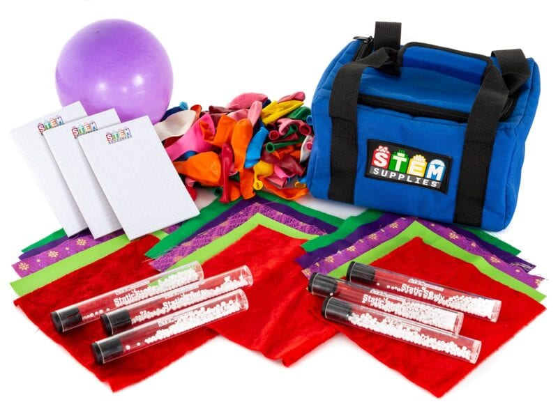 components of a static electricity science kit for kids