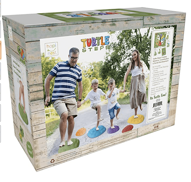 A stepping stones obstacle course for outside play