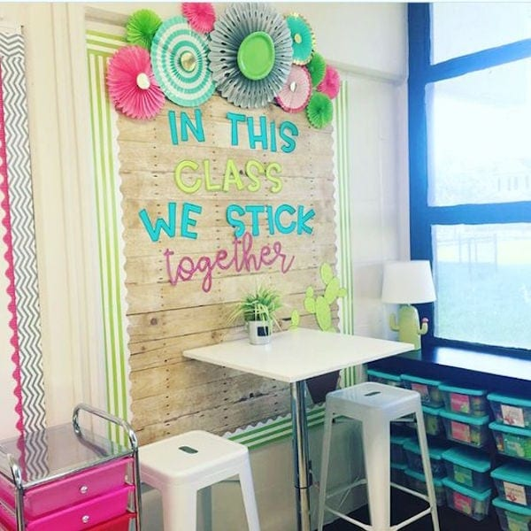 Shiplap wood classroom wall display with colorful cactus theme