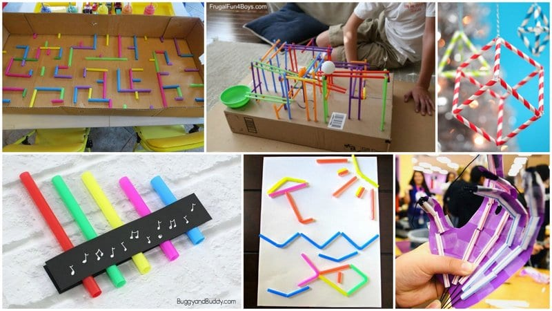 Six images of straw activities for kids.